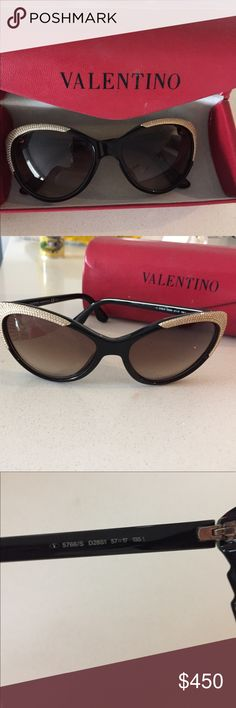 Authentic Valentino Sunglasses Swarovski Crystal These are 100% authentic Made in Italy, there were only a few made and sold with Swarovski crystals and gold trim. I absolutely love these glasses, they are in excellent condition and it comes with the case. Valentino Accessories Sunglasses