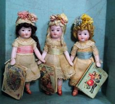 "Three 3"" All Bisque Dollhouse Antique Hertwig Flower girls in a keepsake box 