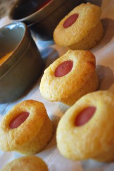 """Mini baked """"Corn Dogs"""" - a healthy and adorable version of the delicious fairground treat!!"""