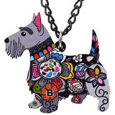 Enamel Scottish Terrier Dog Pendant Necklace
