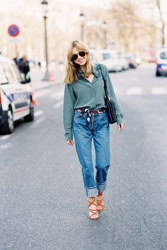 slinky button down + cuffed jeans