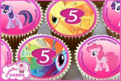 24 X MY LITTLE PONY 5TH HAPPY BIRTHDAY CUPCAKE TOPPERS CAKE RICE PAPER 8744