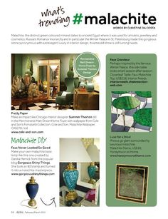 What's Trending: Malachite in Feb/Mar issue of Dabble Magazine