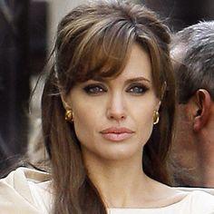 Angelina Jolie's cowlick fringe is just too #glamorous. #hairstyle #celeb
