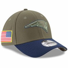 new product a1df0 df9f8 NFL New England Patriots New Era Olive 2017 Salute To Service 39THIRTY Flex  Hat