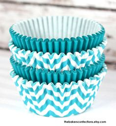 Aqua Chevron and Solid Cupcake Liners - Baking Cups, Designer Grease Resistant Liners (50)