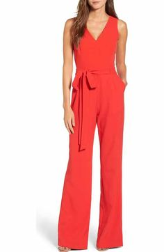 Free shipping and returns on Eliza J Velvet Wide Leg Jumpsuit at Nordstrom.com. A chic jumpsuit goes retro-glam for evening soirees in lustrous velvet with a tasseled-rope belt you can twirl insouciantly as you sip your cocktail.