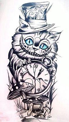 Bildergebnis für Cheshire Cat Zeichnung - Tattoos that I love - Katzen Card Tattoo Designs, Tattoo Sleeve Designs, Sleeve Tattoos, Tattoo Ideas, Owl Tattoos, Owl Tattoo Drawings, Mad Hatter Drawing, Mad Hatter Tattoo, Cheshire Cat Drawing