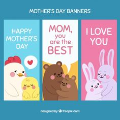 More than 3 millions free vectors, PSD, photos and free icons. Exclusive freebies and all graphic resources that you need for your projects Happy Mothers Day Banner, Happy Birthday Mom, Happy Mom, Mothers Day Cards, Cute Animals With Funny Captions, Cute Baby Animals, Cute Animal Videos, Cute Animal Pictures, Cute Animal Drawings