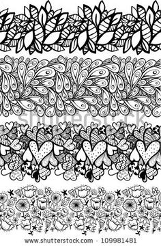 Doodle decorative seamless lines set.
