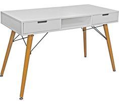 Schreibtisch aus Holz und Metall in der Farbe Weiß/Braun. B/H/T: ca. 120/74/55cm.