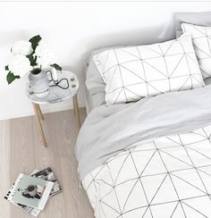 Love a bit of white&grey For a bedroom. Relaxing shades.