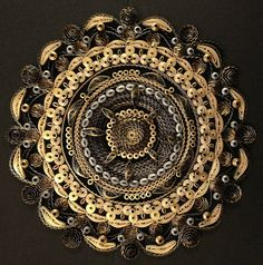Quilled Gold, Silver, and Black Mandala