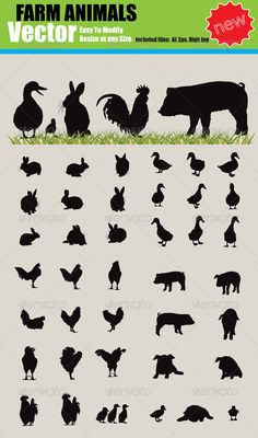 Vector Farm Animals Silhouette Set — Vector EPS #vector #calf • Available here → https://graphicriver.net/item/vector-farm-animals-silhouette-set/1161626?ref=pxcr
