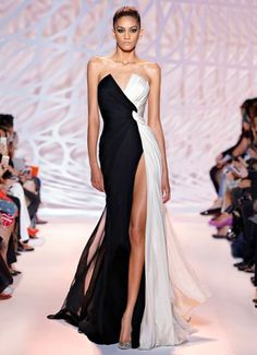 ZUHAIR MURAD - Twisted chiffon drape front gown in black and white moon with high slit and plunging neckline.