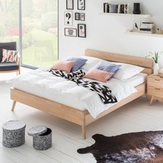 Bed Finsby - massief beukenhout - wit   home24.nl
