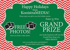 I'm happy to announce our Holiday giveaway and promotion. Follow the link on our profile to enter the giveaway! Free Shoot, Prize Draw, I'm Happy, Happy Holidays, Giveaway, Promotion, Profile, Link, Instagram Posts