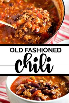 Old fashioned chili is an easy, delicious, homemade meal that is ready in just half an hour. My simple recipe combines beef and beans with a robust tomato sauce and spices for a hearty pot of chili you'll love. Old fashioned chili is an easy, Crock Pot Recipes, Chilli Recipes, Bean Recipes, Soup Recipes, Cooking Recipes, Dinner Recipes, Chile Recipes Beef, Cooking Games, Cooking Bacon
