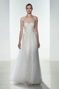 Christos sheer-top wedding dress