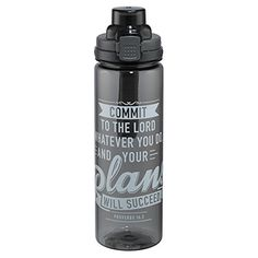 Your Plans Will Succeed Black Plastic Water Bottle  Proverbs 163 *** Read more  at the image link.
