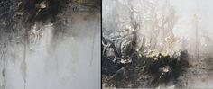 Pittura astratta 24 x 48 bianco nero