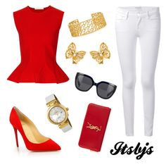 """""""Red/white/gold/pretty/cute"""" by itsbjs on Polyvore"""