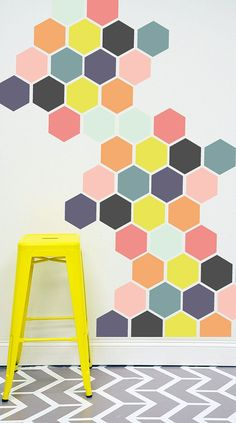 Bright honeycomb wall - great way to add colour to your home.
