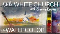 Painting a little white church in watercolor Step By Step Watercolor, Painting, Watercolor Landscape, Easy Watercolor