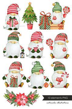 Christmas Scenes, Christmas Gnome, Christmas Art, All Things Christmas, Christmas Ornaments, Christmas Scrapbook, Watercolor Christmas Cards, Christmas Drawing, Christmas Paintings