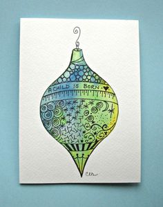Watercolor card No.504 Christmas ornament от ArtworksEclectic ...