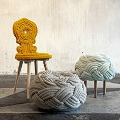 We love this take on knitting! What an interesting concept. 'Casta' chair, 'Cisean' stool and 'Corda' stool.  Image from vogue.com.au