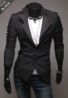 Men Fashion Pattern Long Sleeve Slim Design Black Blends Suit M/L/XL/XXL@S5X10-1b