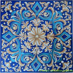 Deruta Italian Hand Painted Tile - Diamond Wreath Weave - Orange and Blue - 12 in x 12 in (30cm x 30cm)