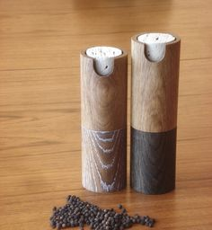 A pepper mill and salt grinder set fashioned from white oak.