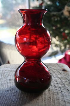 Ruby Red Glass Vase with a Unique Shape.