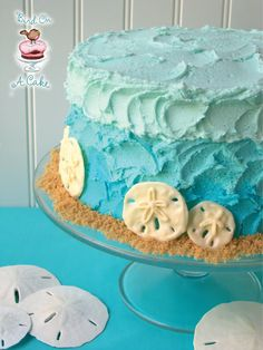 Ombre Beach Cake with Sand Dollars ~ would be pretty using the frosting petal technique