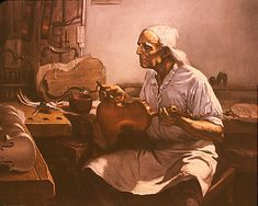 """""""Portrait of Antonio Stradivari"""" Violin and cello craftsman extraordinaire.  One of the paintings in the """"American Artist"""" feature article  on Tobey's paintings & methods."""