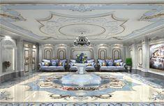 Flower Pattern Sodalite Blue Flooring Design