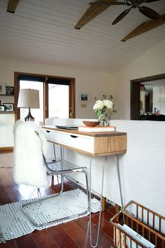 Slim Mid-Century Laptop Desk hacked from the IKEA EKBY ALEX drawers and hairpin legs. Love!