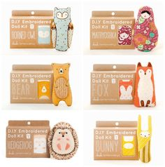 CUTE ANIMAL DIY EMBROIDERY KITS FROM KIRIKI PRESS Kids Packaging, Cute Packaging, Diy Doll Kit, Kids Crafts, Diy And Crafts, Craft Kits For Kids, Diy Embroidery Kit, Sewing Toys, Fabric Dolls