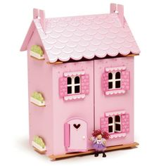 - fully painted and decorated wooden dollhouse - 25+ pieces of wooden furniture and accessories as shown - removeable roof panels - opening shutters, windows & doors - heart motif & glittery paint - d