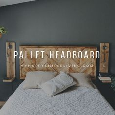 Herringbone Pallet Headboard - My Happy Simple LifePallet headboard diy. Tutorial for herringbone DIY pallet headboard. Build your own rustic headboard with pallets. Budget friendly home stylish DIY headboards that you can make in Herringbone Headboard, Chevron Headboard, Diy Pallet Bed, Pallet Ideas, Pallet Bench, Pallet Patio, Pallet Diy Decor, Wooden Bed Frame Diy, Bed Pallets