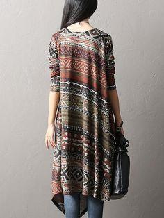 O-Newe Vintage Women Geometric Patterns Printed Long Sleeve Asymmetric Dress at Banggood
