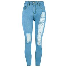 Pocket Ripped Light Wash Slim-Leg High-Rise Jean (€25) ❤ liked on Polyvore featuring jeans, pants, calças, ripped jeans, light wash jeans, high waisted distressed jeans, ripped blue jeans and blue jeans