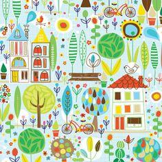 Fabric. Carolyn Gavin, Scandinavian Style › Spring Street Houses And Trees £3.25 fq
