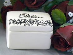 Ceramic Believe Keepsake Box by GrapeVineCeramicsGft on Etsy, $15.00
