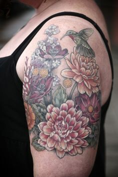 Floral scene by Alice Kendall, at Wonderland Tattoo in Portland, OR.  Fully healed!  http://wonderlandtattoospdx.tumblr.com