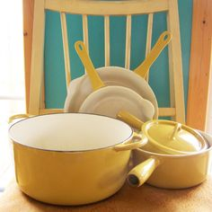 I am in love with this Descoware enamelware! I just added yellow Descoware cookware to the shop - Dutch oven, frying pans & saucepans. Descoware was the cookware of choice for Julia Child, who loved it for its quality and durability. Please take a look!