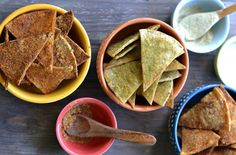 Junk Food Favorites, Made Healthy | Doritos: Good news, Doritos fans: Cool Ranch, Spicy Taco and Nacho Cheese are all here! But the difference here is that the seasonings are all spice and no artificial flavor. Once you've mixed up your favorite flave—or you know, all three—it's just corn tortilla and olive oil baking left. Is your mouth watering yet?