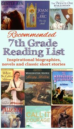 Recommended Reading List for 7th Grade #homeschool